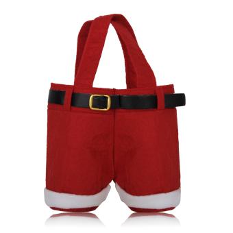Christmas Holiday Santa Pants Tote Gift Bag Candy Bag Size S Set of 10