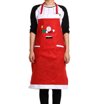 Christmas Kitchen Bar Creative Red Christmas Applique Aprons 02 Style (Intl)