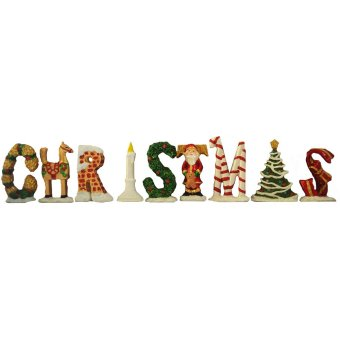 Christmas LETTERS set of 9 Classic Table Top with glitters (Santa Claus) Holiday (Made of Fiberglass Resin) by Everything About Santa (Christmas decoration and gift suggestion)