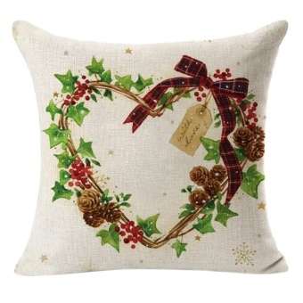 Christmas Linen Square Throw Flax Pillow Case Decorative Cushion Pillow Cover B - intl