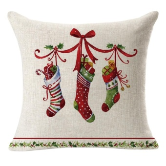 Christmas Linen Square Throw Flax Pillow Case Decorative Cushion Pillow Cover D - intl