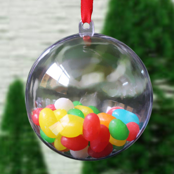 Christmas Plastic Round Ball Christmas Clear Bauble Ornament Gift Present Xmas Tree Craft