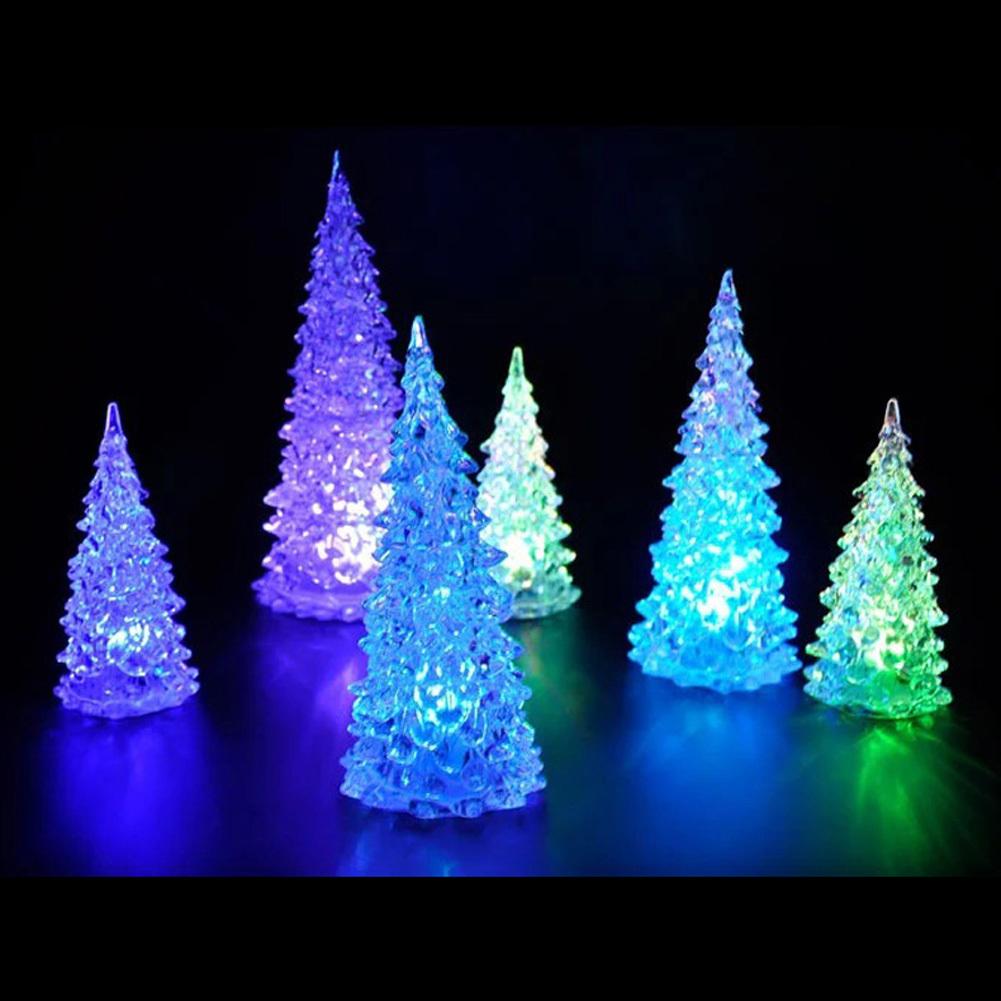 Christmas Tree Ice Crystal Colorful Changing LED Desk Decor (Intl) - thumbnail