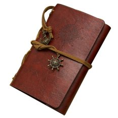 Classic Retro Vintage Leather Pirate Bound Blank Pages Notebook Journal Diary Red Mix Brown