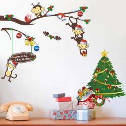 Colorful Cute Monkey and Christmas Tree Wall Sticker