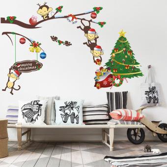 Colorful Cute Monkey & Christmas Tree Wall Sticker (Intl)