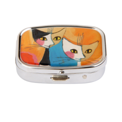 Couples  Cats Kitty Pill Case Box Storage Container with Internal Mirror