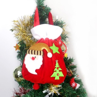 Creative Christmas Pleuche Drawstring Gift Bag Storage Sack Pocket Xmas 24*20cm Christmas Santa Hot Sale - intl