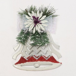 Creative White & Red Hollow Flat Bell For Xmas Christmas Tree Decor Ornaments - intl