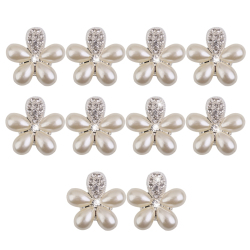 Crystal Faux Pearl Flower Button Decoration DIY 30mm 10pcs Silver