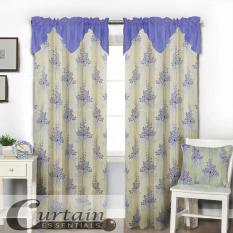 Curtain Essentials Grass Flower Blue Single Panel