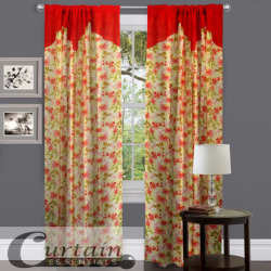 "Curtain Essentials Red Blossom Single Panel - 55"" x 72"""