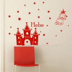 Customized Name Castle Angle Stars Vinyl Wall Sticker Decal Kids Baby Girl  Room Bedroom Nursery 110x150cm