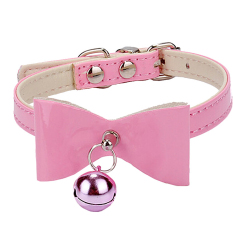 Cute Bowknot with Bell Style Adjustable PU Leather Pet Puppy Dog Cat Collar Necklace Size S Pink Philippines