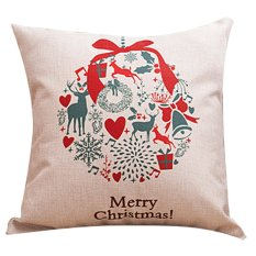 Cute Christmas Bell Printing Linen Cloth Zippered Square Throw Pillow Case Cushion Cover Decorative Pillowcase,