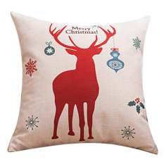 Cute Christmas Red Deer Printing Linen Cloth Zippered Square Throw Pillow Case Cushion Cover Decorative Pillowcase