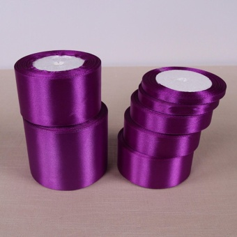 Dark Purple 25 Yards Silk Satin Ribbon Wedding Party Decoration Gift Wrapping Christmas Year Apparel Sewing Fabric DIY 50mm - intl