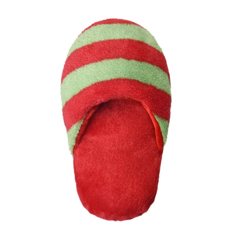 Dog Toy Pet Puppy Chew Squeaky Squeaker Sound Plush Slipper Shape (Red and Green) - thumbnail