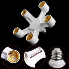 E27 5 in 1 LED Base Holder Socket Light Lamp Bulb Converter Screw White - intl