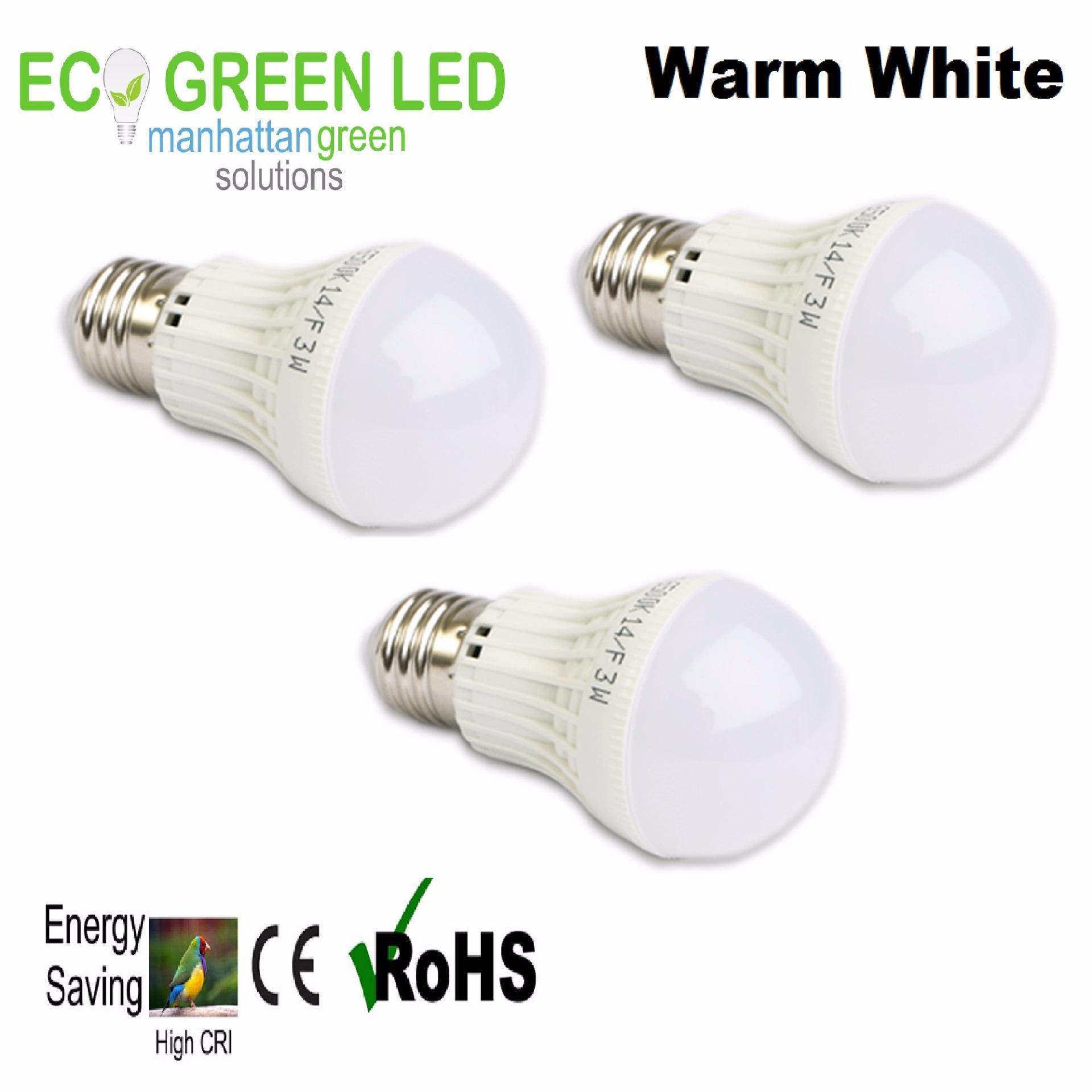 EcoGreen E27 3W LED Bulb Set of 3 (Warm White) - thumbnail