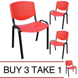 Ergodynamic VCP-105RED Stackable Meeting Chair (Red) Buy 3 Take 1