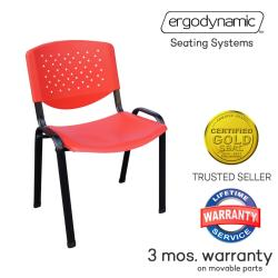 Ergodynamic VCP-105RED Stackable Plastic Meeting Chairs (Red)