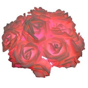 ETOP 20LED Rose Flower Fairy String Lights Wedding Garden Party Christmas (Pink) (Intl)