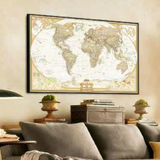 Fang Fang Paper Vintage Retro World Map Antique Poster Wall 28inch x 18inch (Brown)