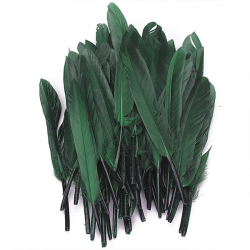 Fifty Pieces Dyed Goose Feather 4-6in Deep Green