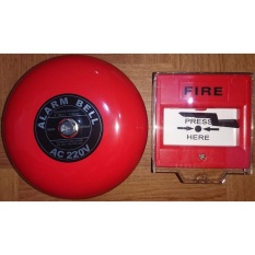 Fire Alarm Bell 6in 220V & Break Glass / Manual Push Station / Call Point