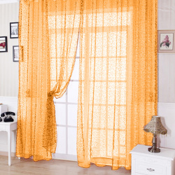 Floral Tulle Voile Door Window Curtain Beige