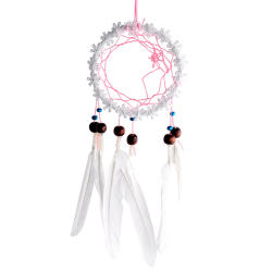 Flower Dream Catcher With feathers (White)