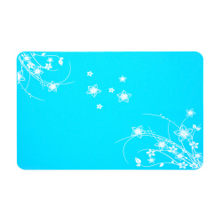Flower Pattern Flexible Non Slip Silicone Placemats Kids Table Mats Blue