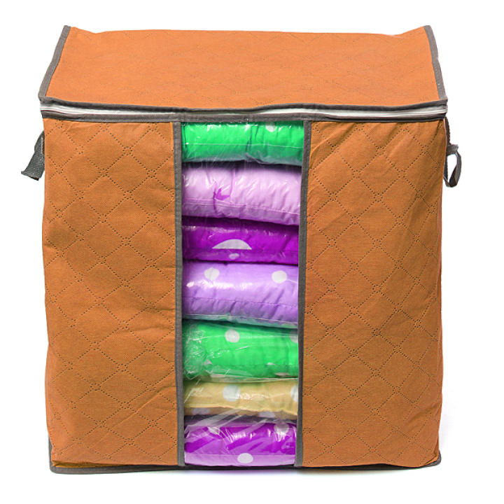 Foldable Clothes Pillow Blanket Closet Underbed Storage Bag Orange-S