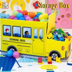 Foldable Kids Storage Box Storage Chair Box School Bus (yellow) By Dreamwest Corporation.