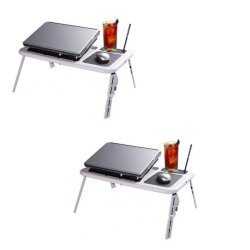 Foldable Laptop Table Set of 2 (White)