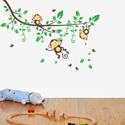 GETEK Cartoon Monkey Tree Home Decal Wall Sticker (Multicolor)