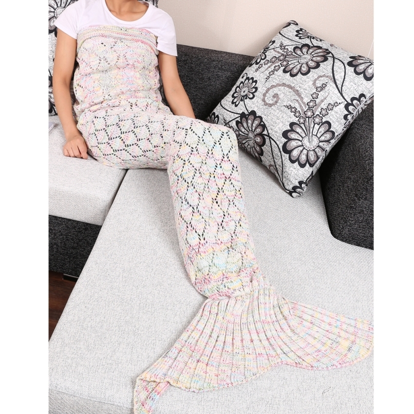 GETEK Mermaid Tail Knitted Crochet Leaves Blanket 95 x 195cm (Multicolor)