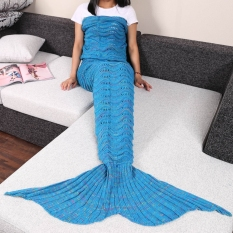MOON STORE 180X90CM HOLLOW CORRUGATED BLANKET MERMAID BLUE INTL. Soft Double Throw Blankets Durable Sofa
