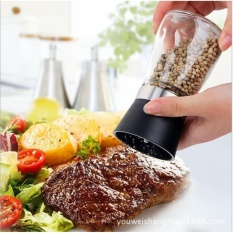 Glass Salt Pepper Mill Grinder Spice Container Condiment Jar Holder Grinding Bottle Color:black By Mall Inn.