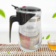 GOOD Drinkware 750ML Heat Resistant Glass Tea Pot with Filter & Spring Type Calve Transparent Curve