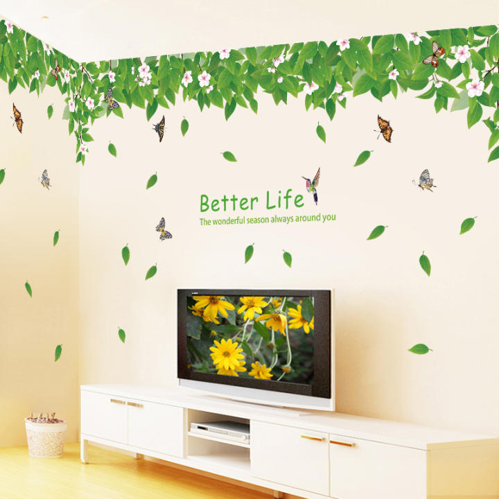 Green Leaves fresh flowers living room sofa TV sticker wall stickers