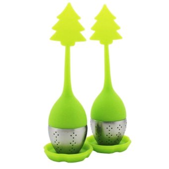 GX 2 Pcs Christmas Tree Style Silicone Tea Infuser Strainer With Driptray - Int'l - intl
