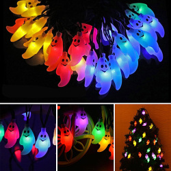 Halloween 20-LED Ghost Style Solar Powered Waterproof Outdoor LED Light String Lights Rope Halloween Christmas Tree Decorations String Light Colorful Light