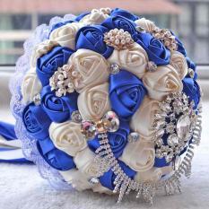Handmade Satin Rose Brooch Pearl Crystal Chain Bowknot Wedding Bridal Bouquet - intl