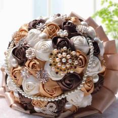 Handmade Wedding Satin Rose Flower Bridal Bouquet Pearls Beading Brooch Flowersquet Crystal bridal bouquet - intl