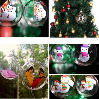 Hanyu 60mm 5pcs Christmas Balls Oval Clear Plastic Fillable Ball Ornament - intl