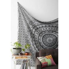 Hanyu Elephant Indian Mandala Tapestry Fringed Wall Hanging Bohemian Bedspread Decor Shawl Beach Towel Black And