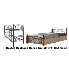 Hapihomes Android Double Deck Bed With Thani (Queen) 60u0027x75u0027 Bed Frame