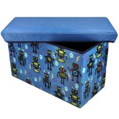 Happy Kids Foldable Ottoman Storage Box Chairs Robotl Design (Blue/Black)  Philippines